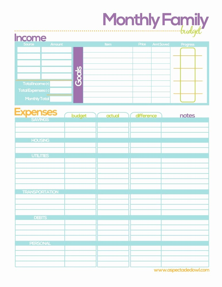Free Printable Monthly Budget Template Luxury Free Family Bud Printable A Spectacled Owl