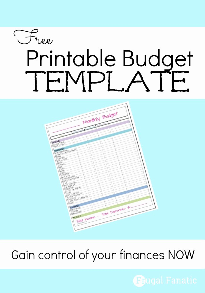 Free Printable Monthly Budget Template New Free Monthly Bud Template Frugal Fanatic