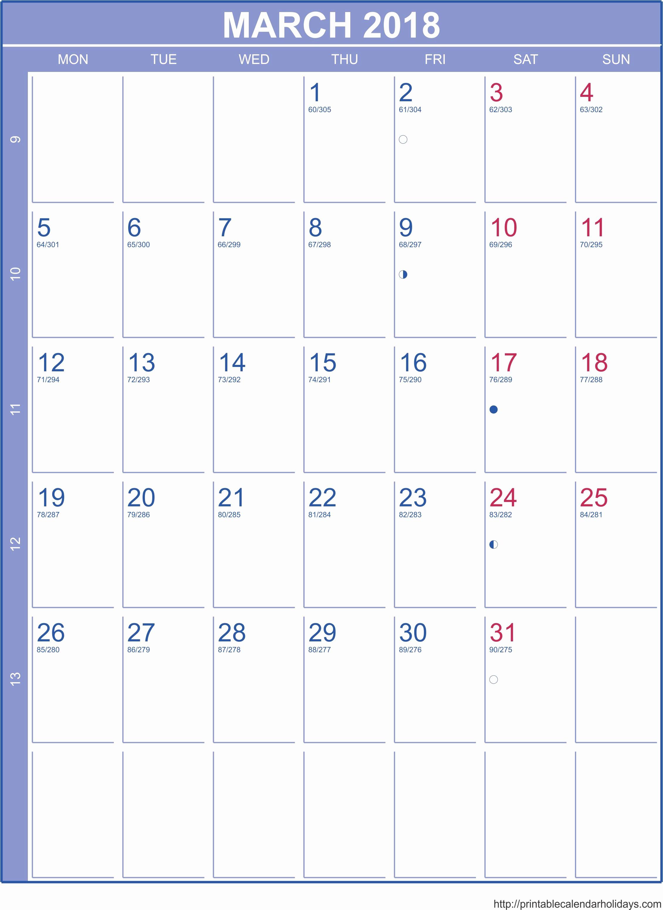 Free Printable Monthly Calendar Templates Beautiful 2018 Monthly Calendar Template