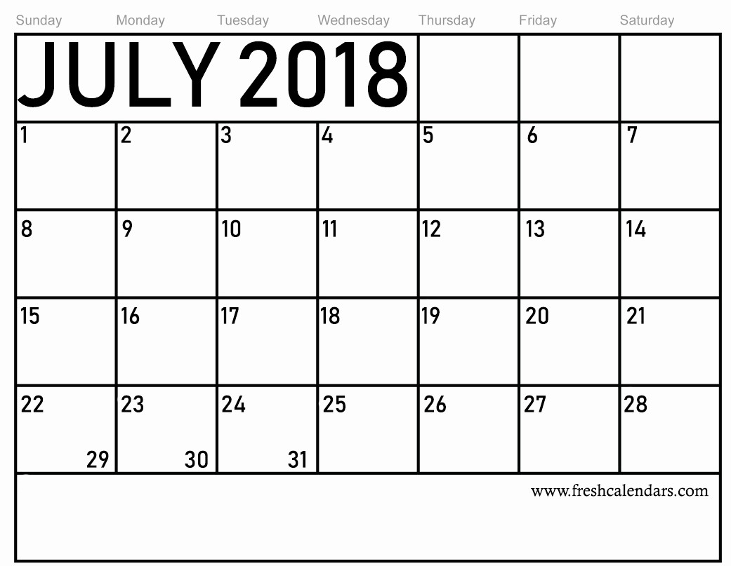 Free Printable Monthly Calendar Templates Elegant Free 5 July 2018 Calendar Printable Template source