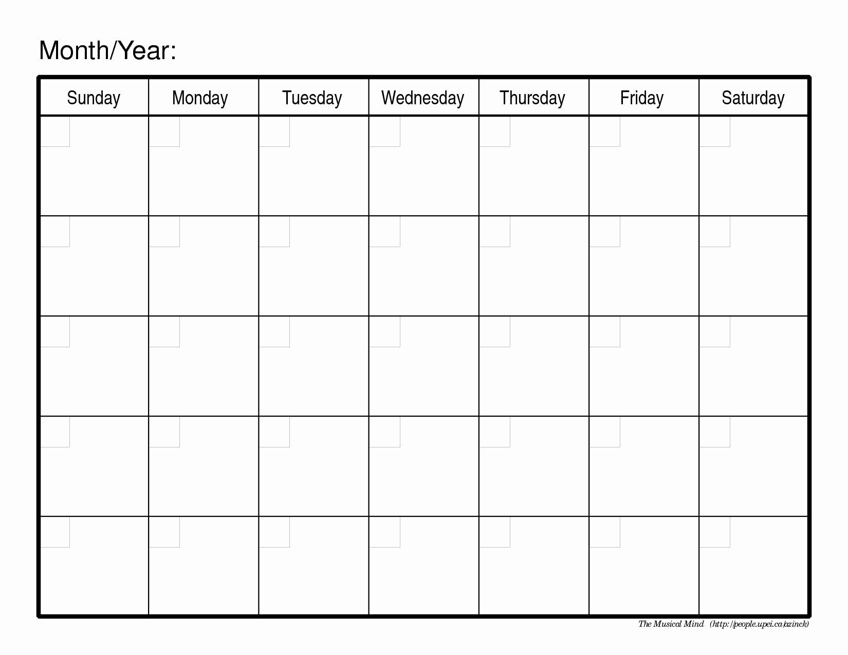 Free Printable Monthly Calendar Templates New Monthly Calendar Template