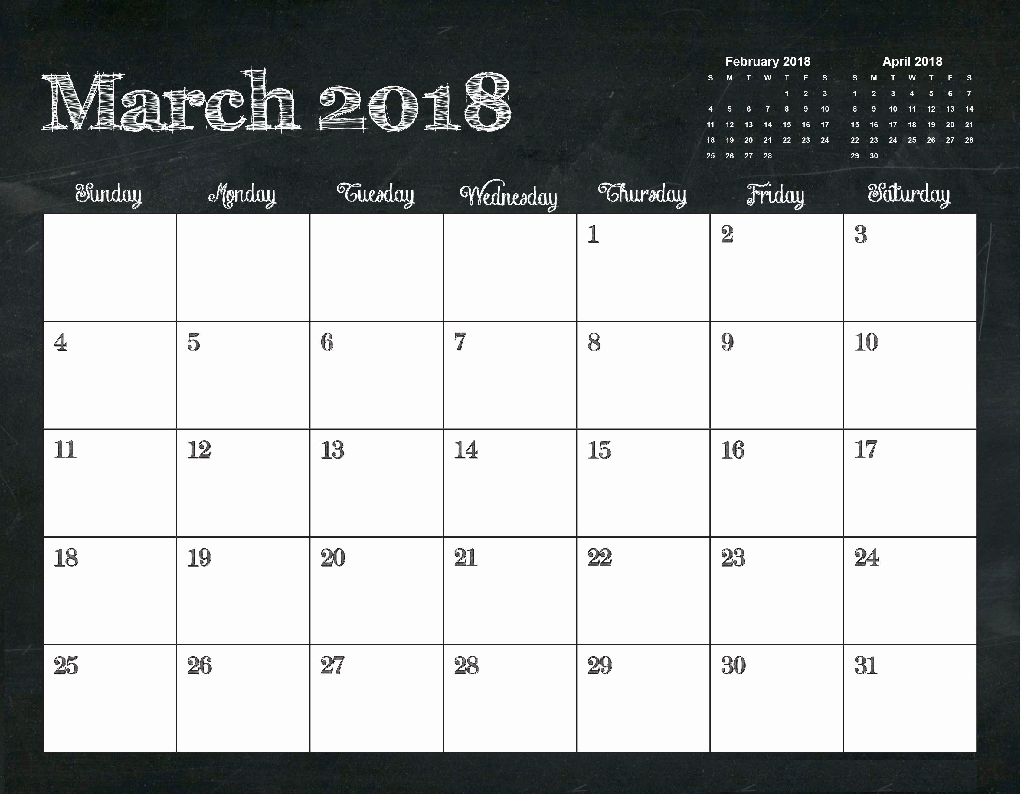 Free Printable Monthly Calendar Templates Unique Printable March 2018 Template