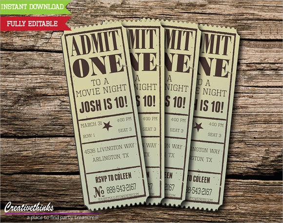 Free Printable Movie Tickets Template Awesome 11 Sample Amazing Movie Ticket Templates to Download