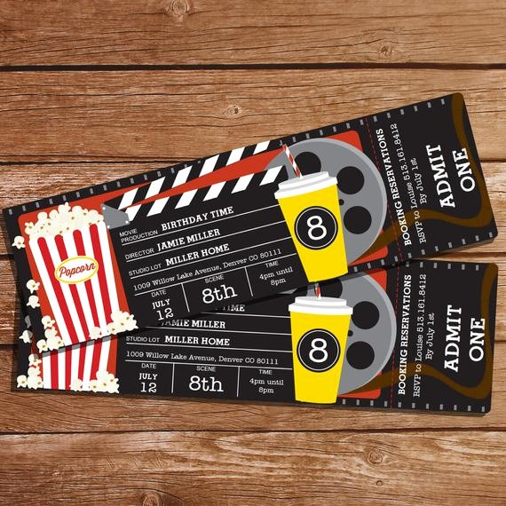 Free Printable Movie Tickets Template Awesome Movie Party Invitation Movie Ticket Invitation Instant
