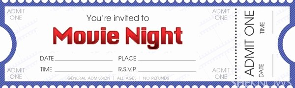 Free Printable Movie Tickets Template Inspirational 17 Best Ideas About Movie Night Invitations On Pinterest