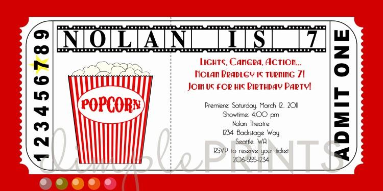 Free Printable Movie Tickets Template Luxury Movie Ticket Printable Birthday Invitation Dimple Prints