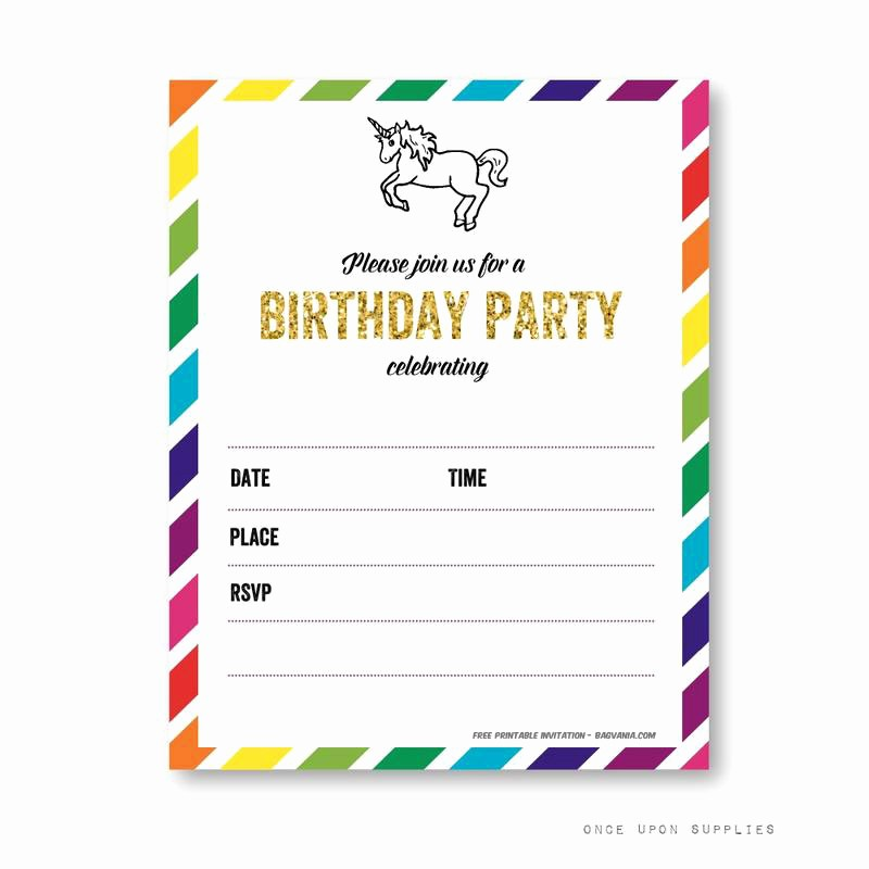 Free Printable Party Invitations Templates Best Of Free Printable Golden Unicorn Birthday Invitation Template