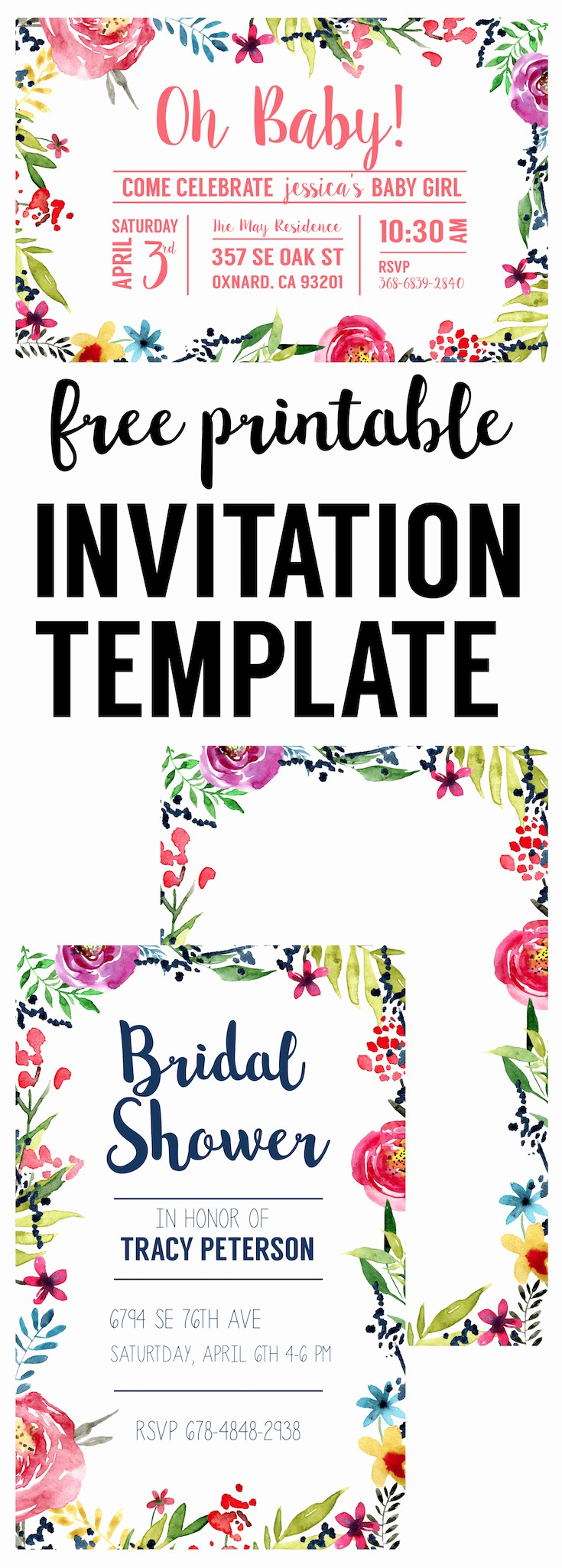 Free Printable Party Invitations Templates Lovely Floral Borders Invitations Free Printable Invitation
