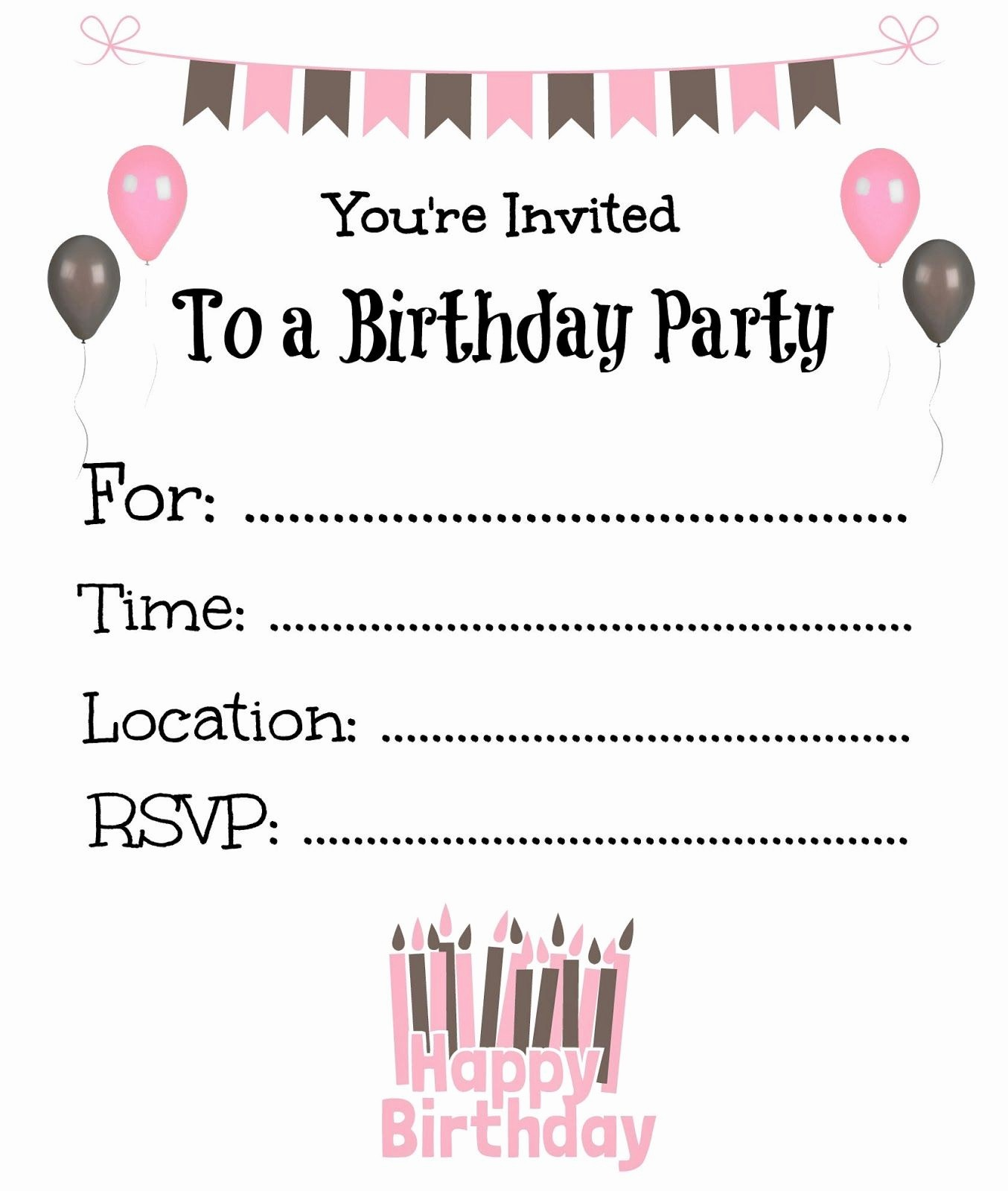 Free Printable Party Invitations Templates Lovely Free Printable Birthday Invitations for Kids Birthday