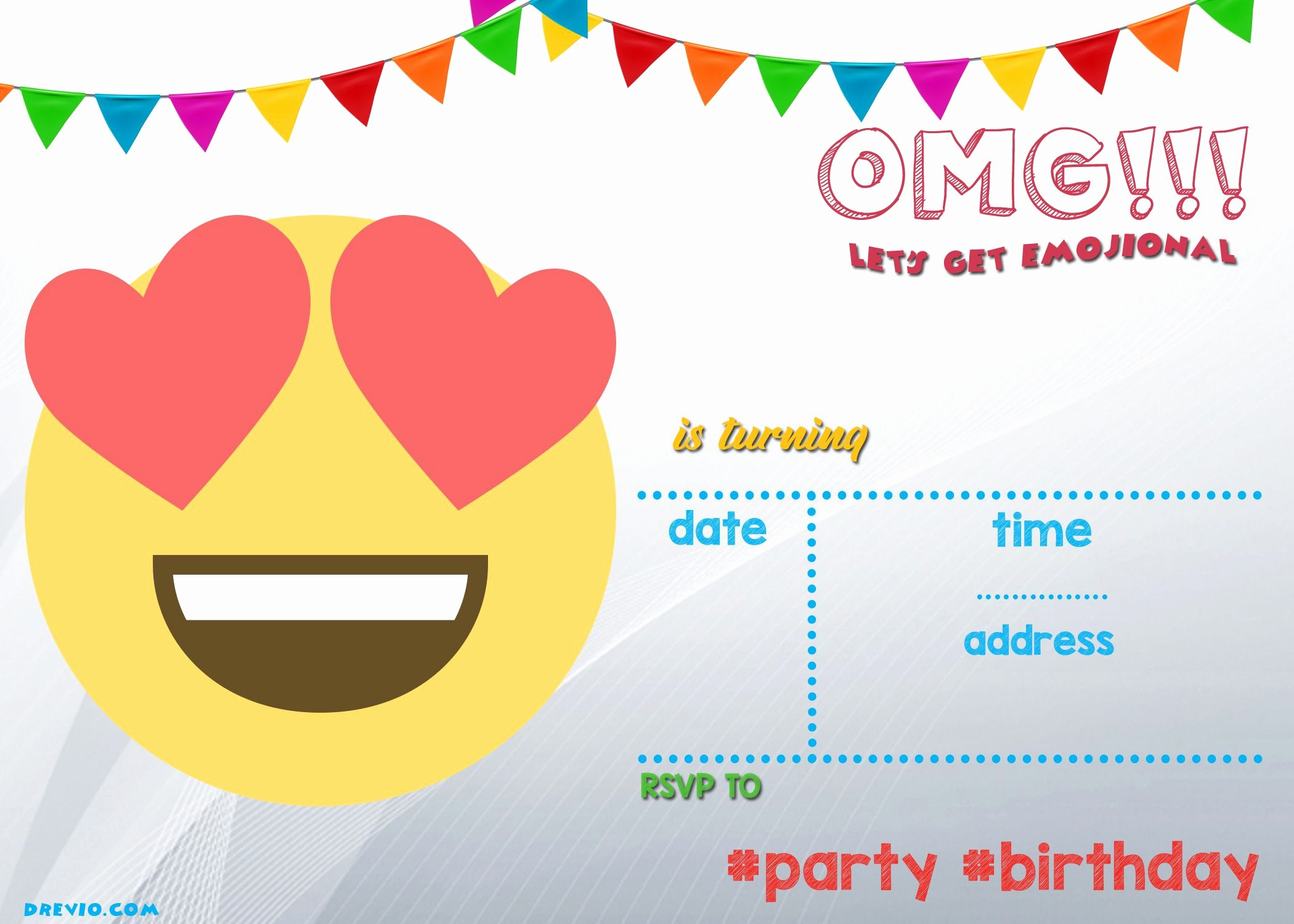 Free Printable Party Invitations Templates Lovely Free Printable Emoji Invitation Template