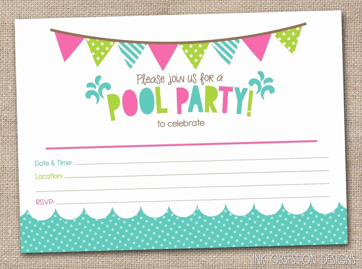 Free Printable Party Invitations Templates Unique Girls Pool Party Printable Invitation Fill by