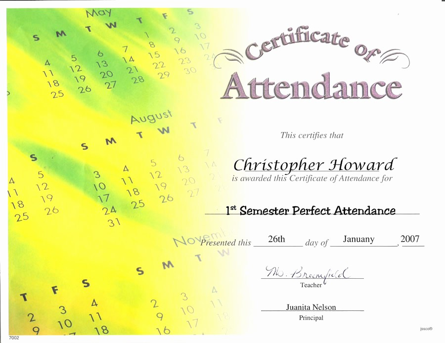 Free Printable Perfect attendance Certificates Awesome Best S Of Perfect attendance Certificate Printable