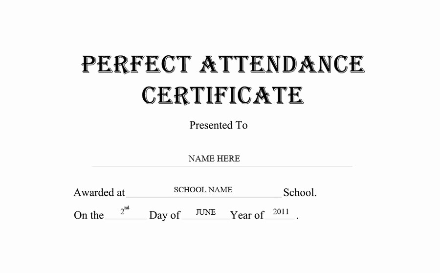 Free Printable Perfect attendance Certificates Awesome Perfect attendance Certificate Free Templates Clip Art