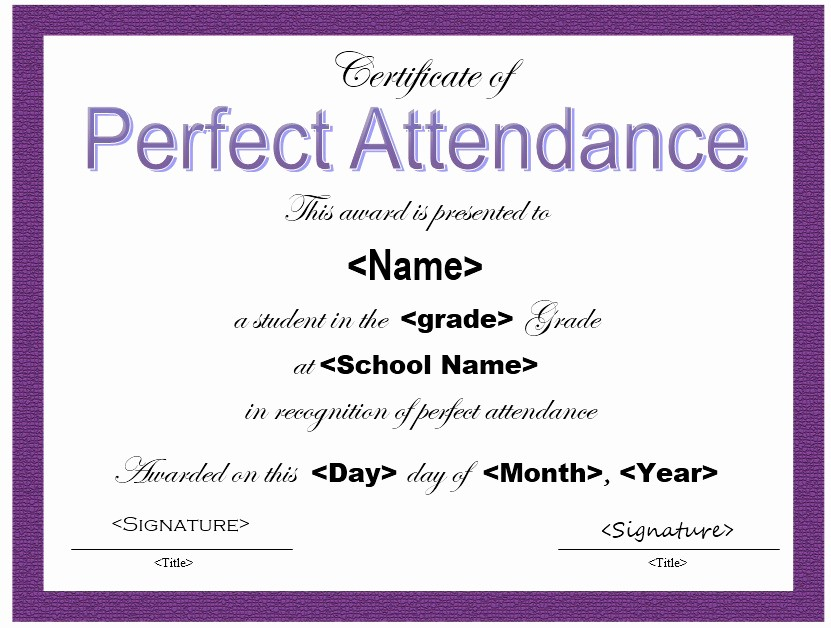 Free Printable Perfect attendance Certificates Beautiful 13 Free Sample Perfect attendance Certificate Templates