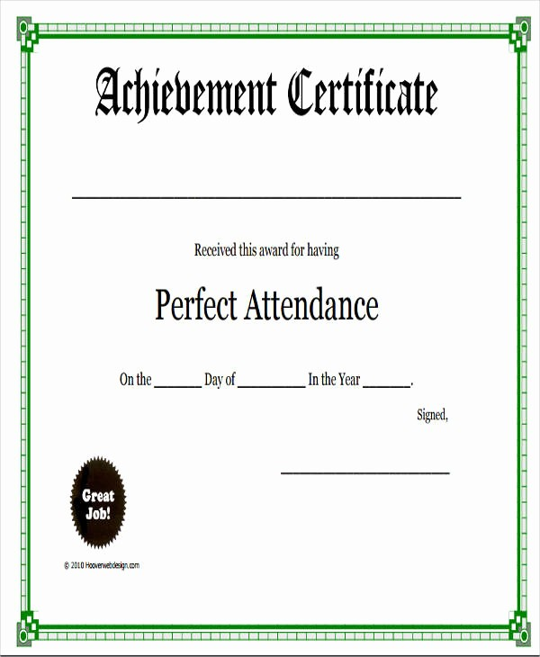 Free Printable Perfect attendance Certificates Beautiful 31 Free Award Certificates