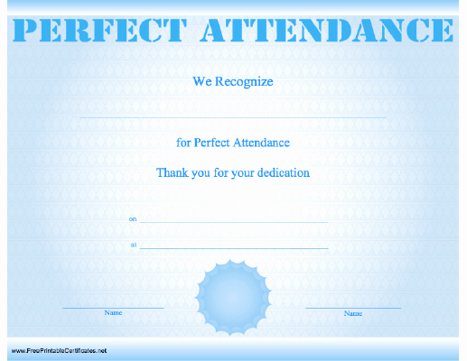 Free Printable Perfect attendance Certificates Beautiful attendance Certificate Examples Certificate Examples