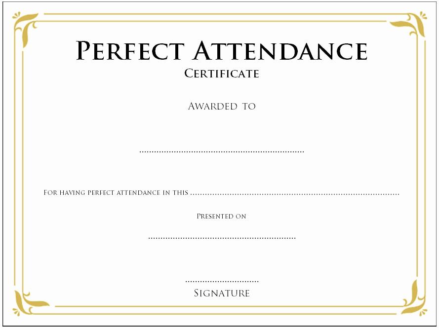 Free Printable Perfect attendance Certificates Beautiful Blank Certificates