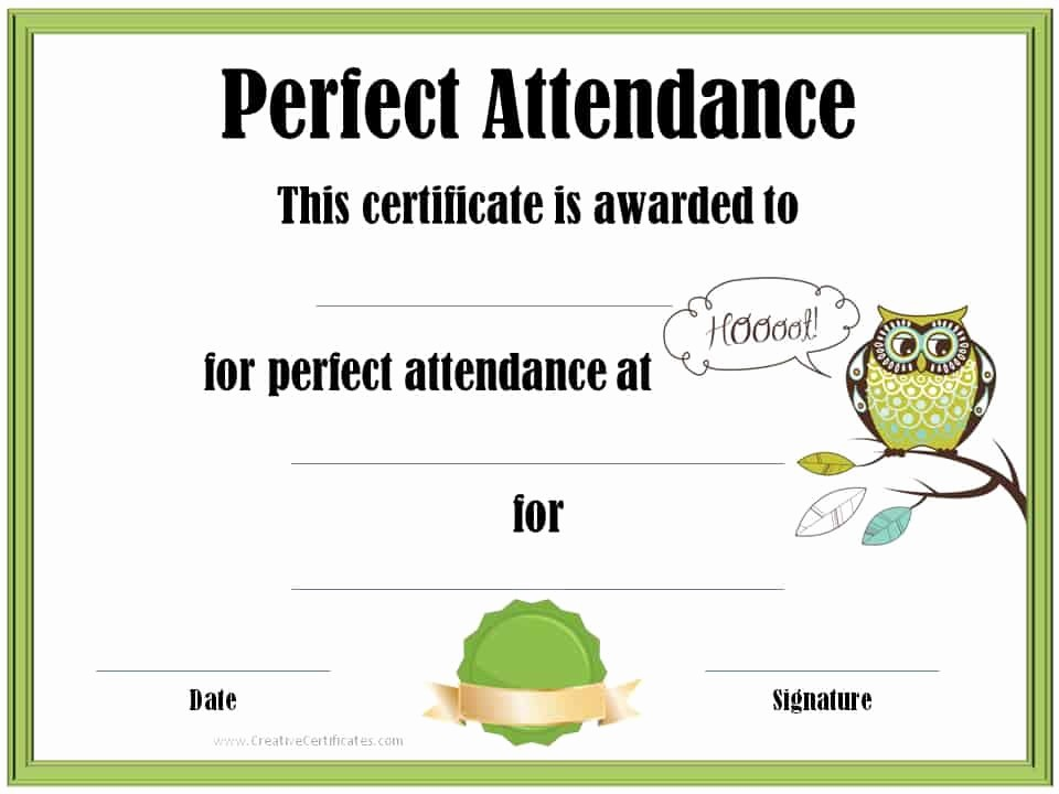 Free Printable Perfect attendance Certificates Beautiful Perfect attendance Award Certificates