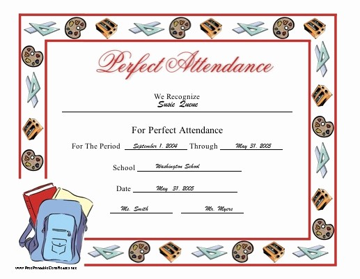 Free Printable Perfect attendance Certificates Beautiful the 25 Best attendance Certificate Ideas On Pinterest