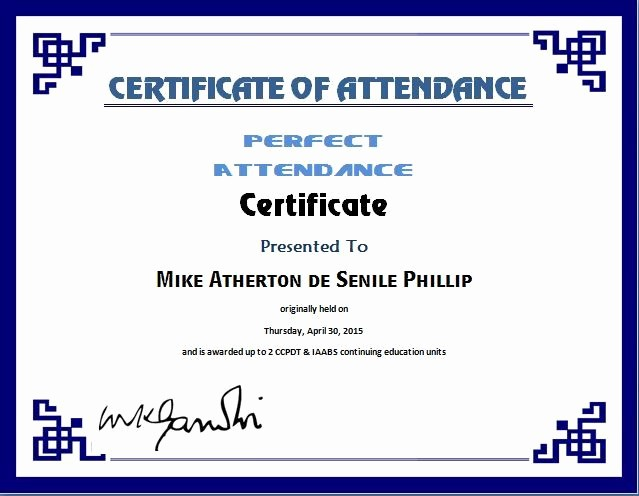 Free Printable Perfect attendance Certificates Best Of Perfect attendance Certificate Template