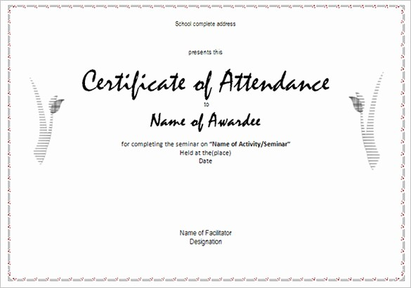 Free Printable Perfect attendance Certificates Elegant 21 attendance Certificate Templates Doc Pdf Psd