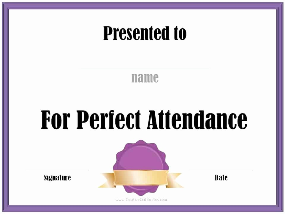 Free Printable Perfect attendance Certificates Elegant Perfect attendance Award Certificates
