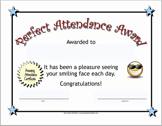 Free Printable Perfect attendance Certificates Elegant Perfect attendance Certificate