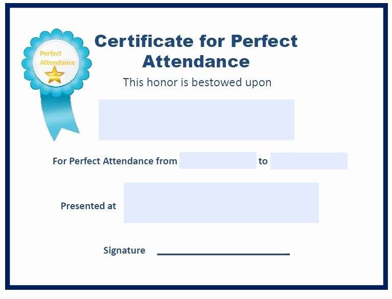 Free Printable Perfect attendance Certificates Fresh 13 Free Sample Perfect attendance Certificate Templates