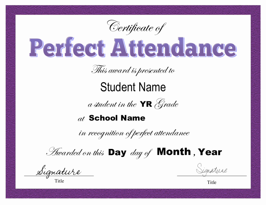 Free Printable Perfect attendance Certificates Fresh 2019 Certificate Of attendance Fillable Printable Pdf