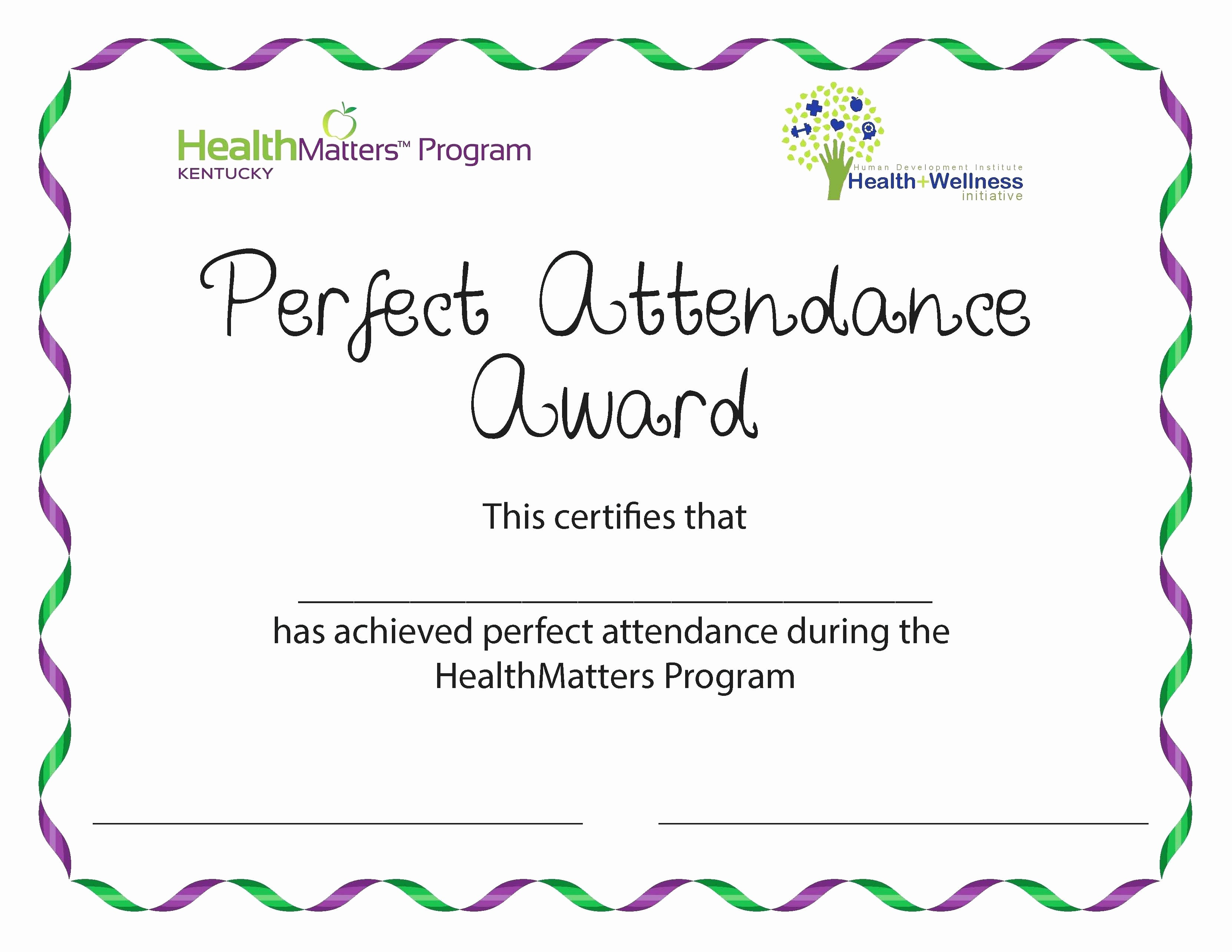 Free Printable Perfect attendance Certificates Fresh Template Certificate attendance Template