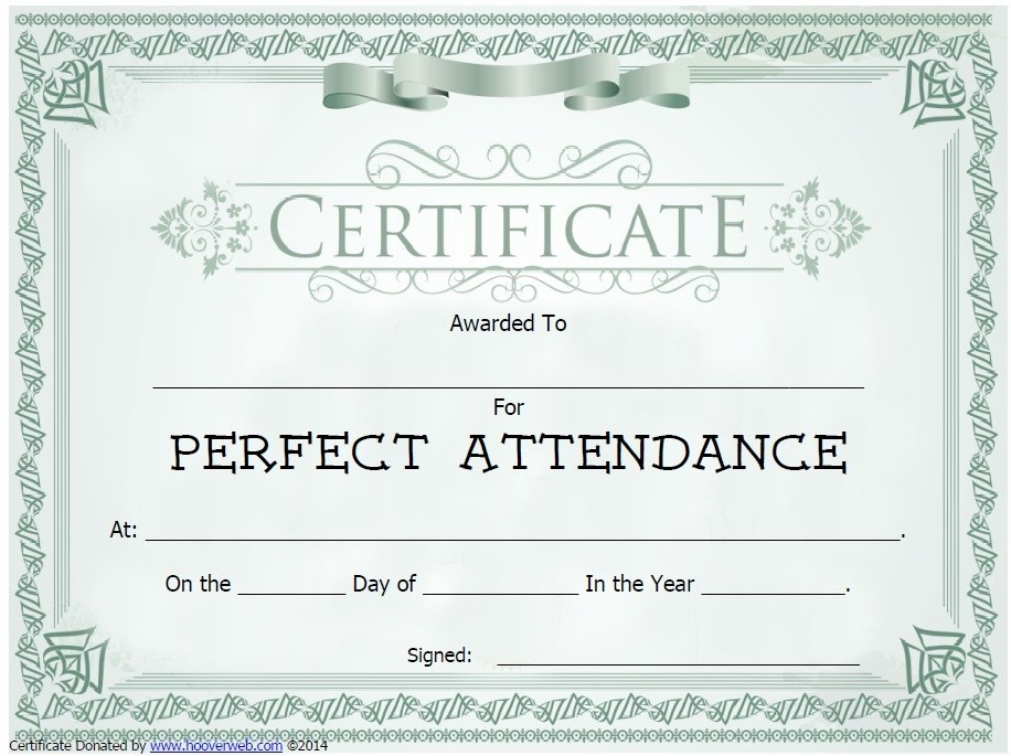 Free Printable Perfect attendance Certificates Inspirational 13 Free Sample Perfect attendance Certificate Templates