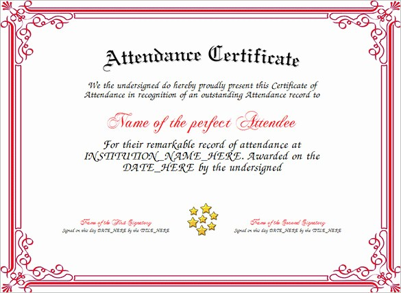 Free Printable Perfect attendance Certificates Inspirational Download attendance Certificate Template for Free