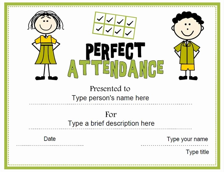 Free Printable Perfect attendance Certificates Lovely Education Certificate Perfect attendance Award
