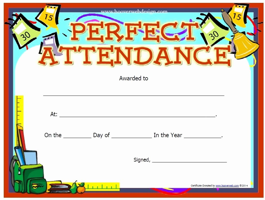 Free Printable Perfect attendance Certificates Luxury 13 Free Sample Perfect attendance Certificate Templates