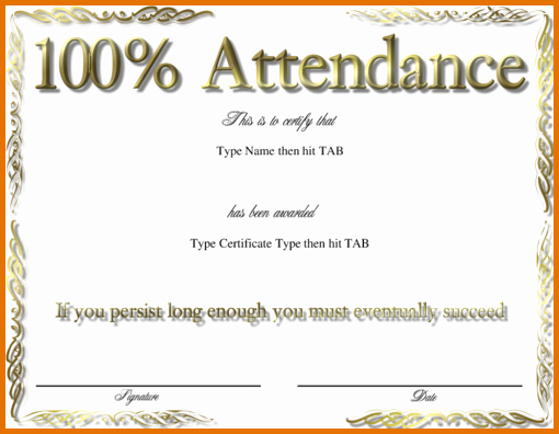 Free Printable Perfect attendance Certificates Luxury 8 Perfect attendance Awardreference Letters Words