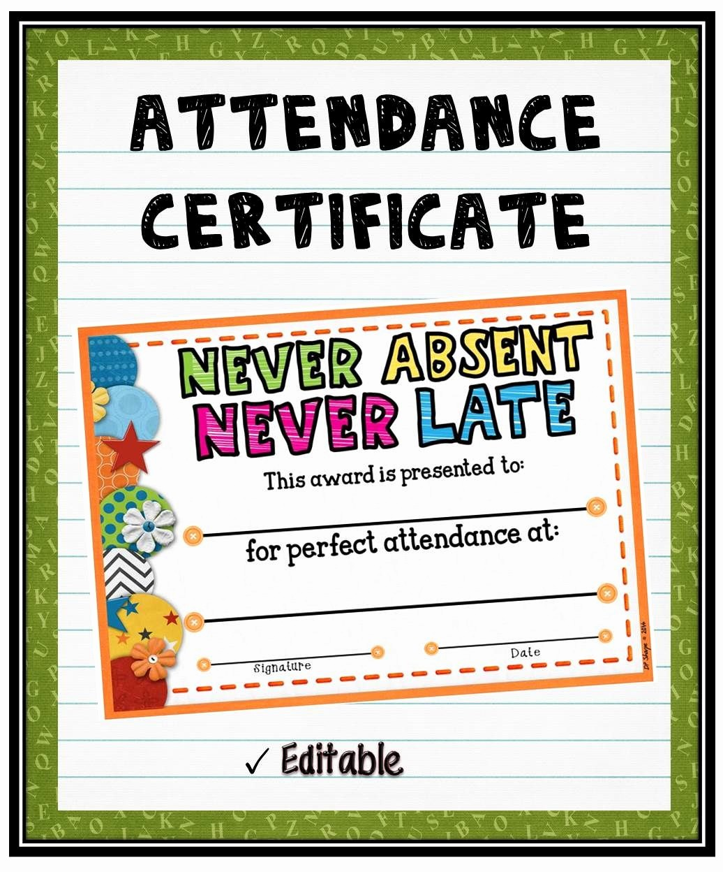 Free Printable Perfect attendance Certificates Luxury attendance Certificate 2 Fillable