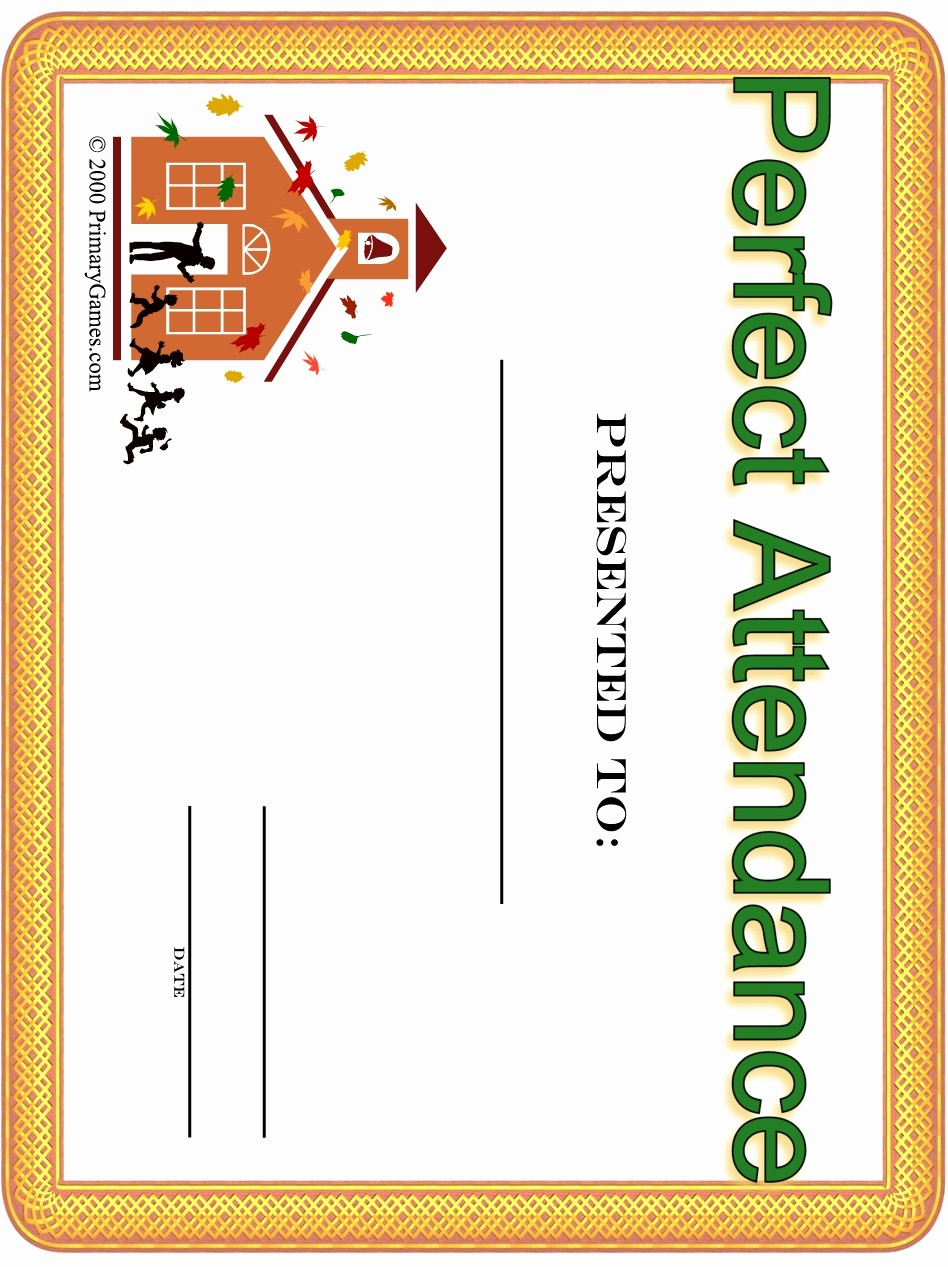 Free Printable Perfect attendance Certificates Luxury Award Certificates Primarygames Free Printable