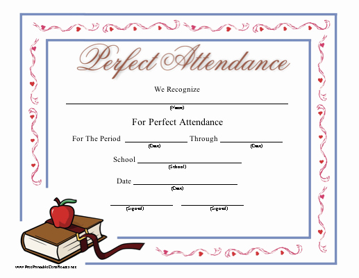 Free Printable Perfect attendance Certificates Luxury Perfect attendance
