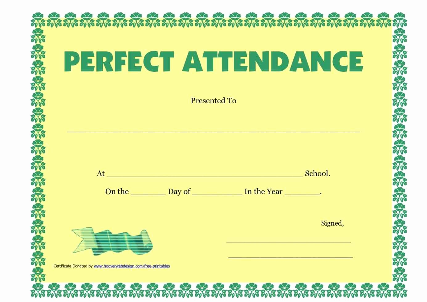 Free Printable Perfect attendance Certificates New Certificate School attendance Template Update234