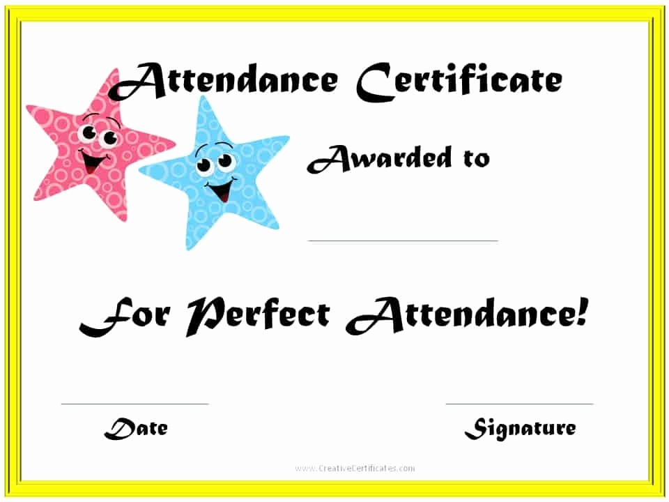 Free Printable Perfect attendance Certificates New Perfect attendance Award Certificates