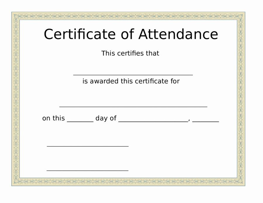 Free Printable Perfect attendance Certificates Unique 2019 Certificate Of attendance Fillable Printable Pdf