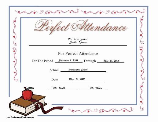 Free Printable Perfect attendance Certificates Unique 25 Best Ideas About attendance Certificate On Pinterest