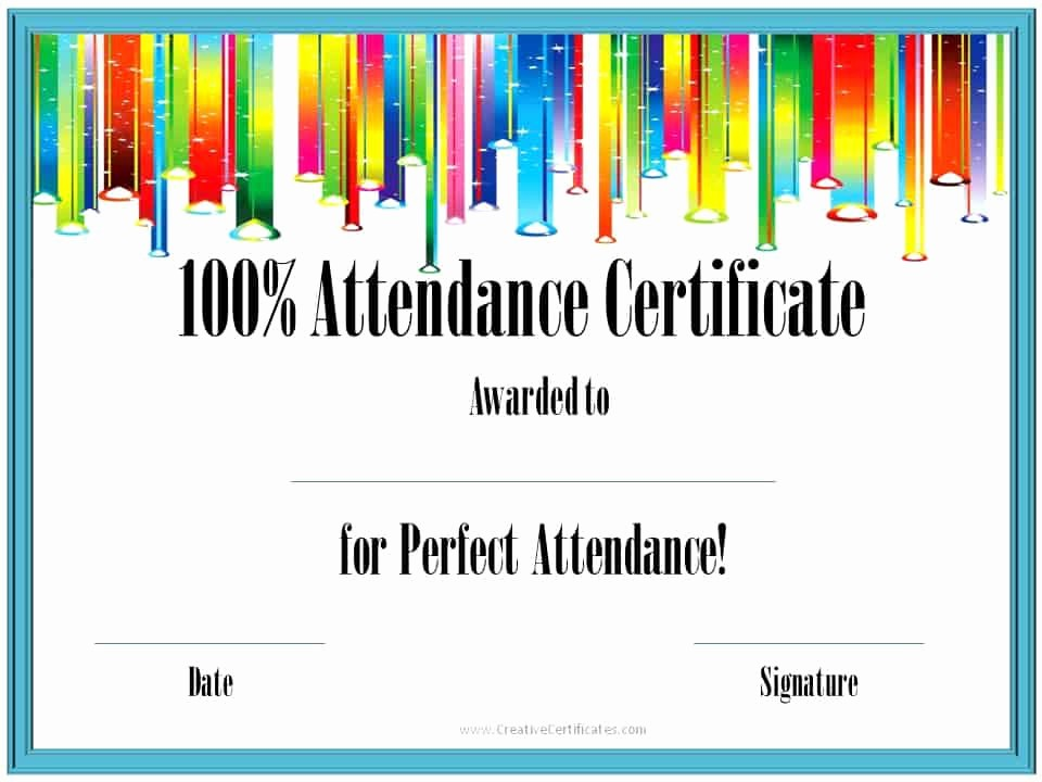 Free Printable Perfect attendance Certificates Unique Perfect attendance Award Certificates