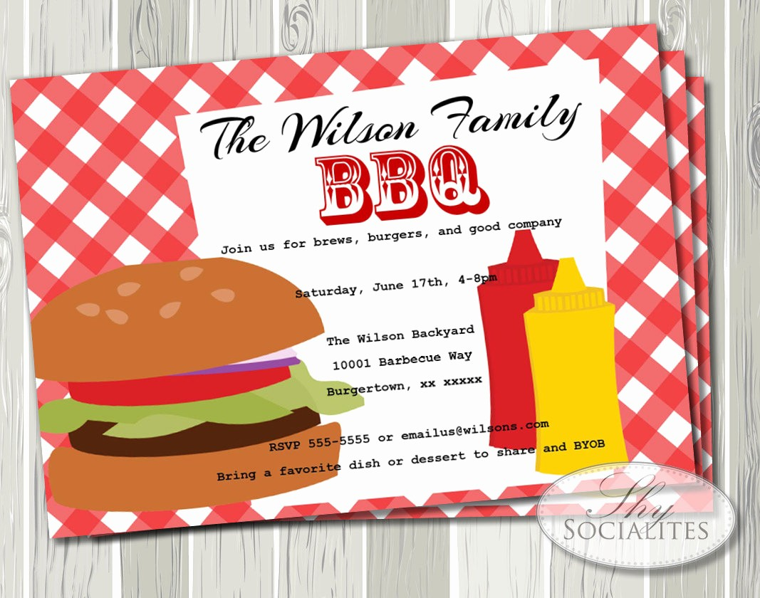 Free Printable Picnic Invitation Template Awesome Bbq Invitation Hamburger Picnic Barbeque Pany Picnic
