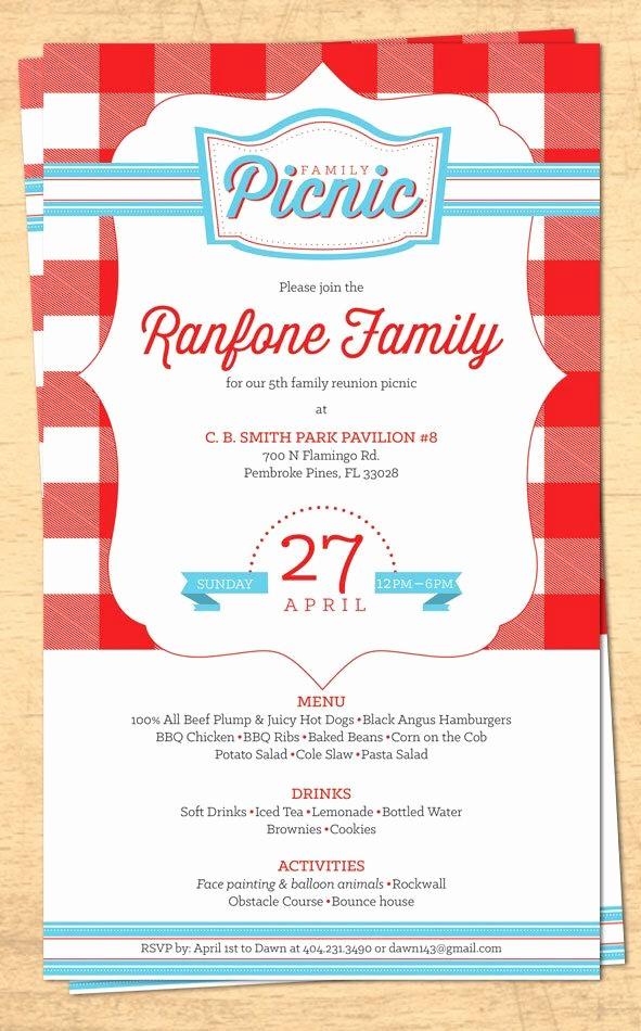 Free Printable Picnic Invitation Template Awesome Family Reunion Picnic Invitation Bbq Invitation 4th Of