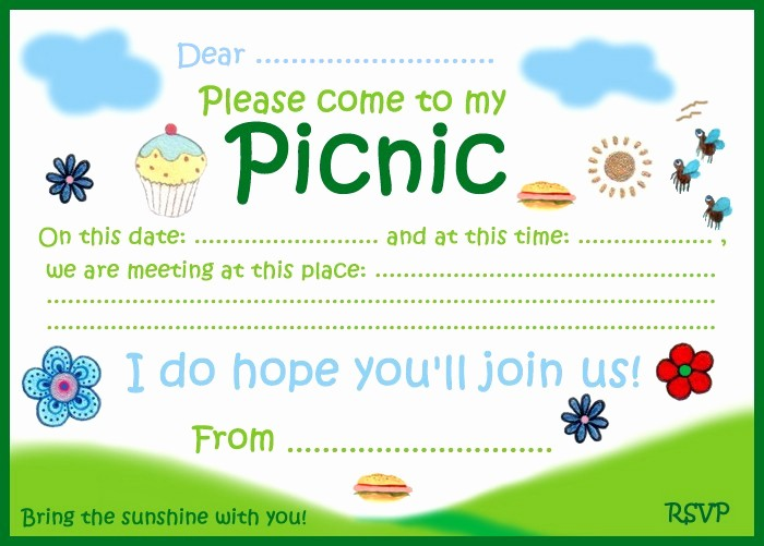 Free Printable Picnic Invitation Template Lovely Picnic Party Invitation