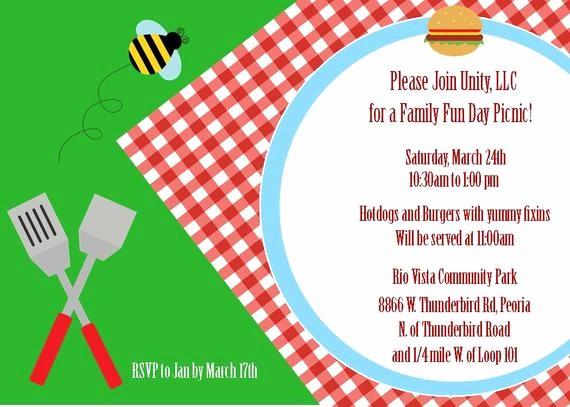 Free Printable Picnic Invitation Template Lovely Summer Picnic and Cookout Printable Invitation