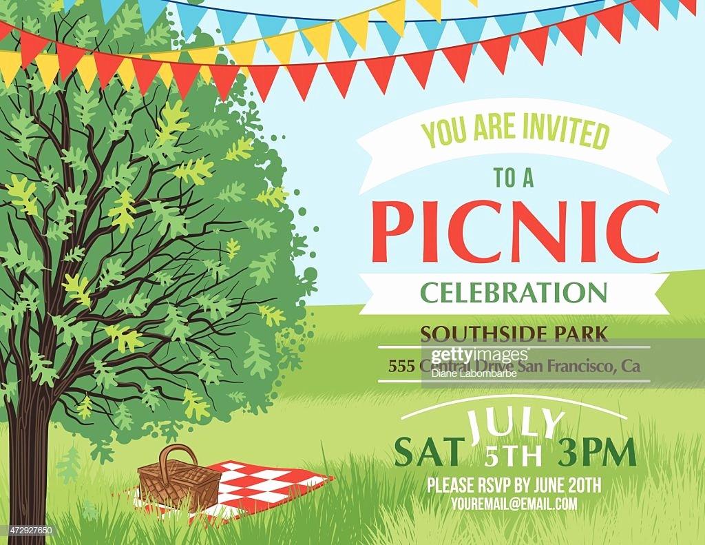 Free Printable Picnic Invitation Template Luxury Cartoon Summer Picnic Invitation Template Vector Art