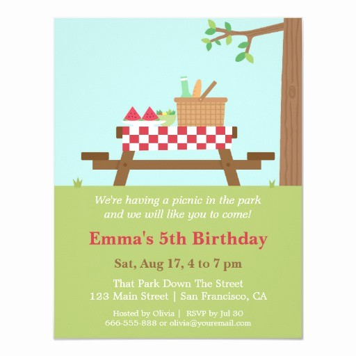 Free Printable Picnic Invitation Template Luxury Picnic In the Park Birthday Party Invitations