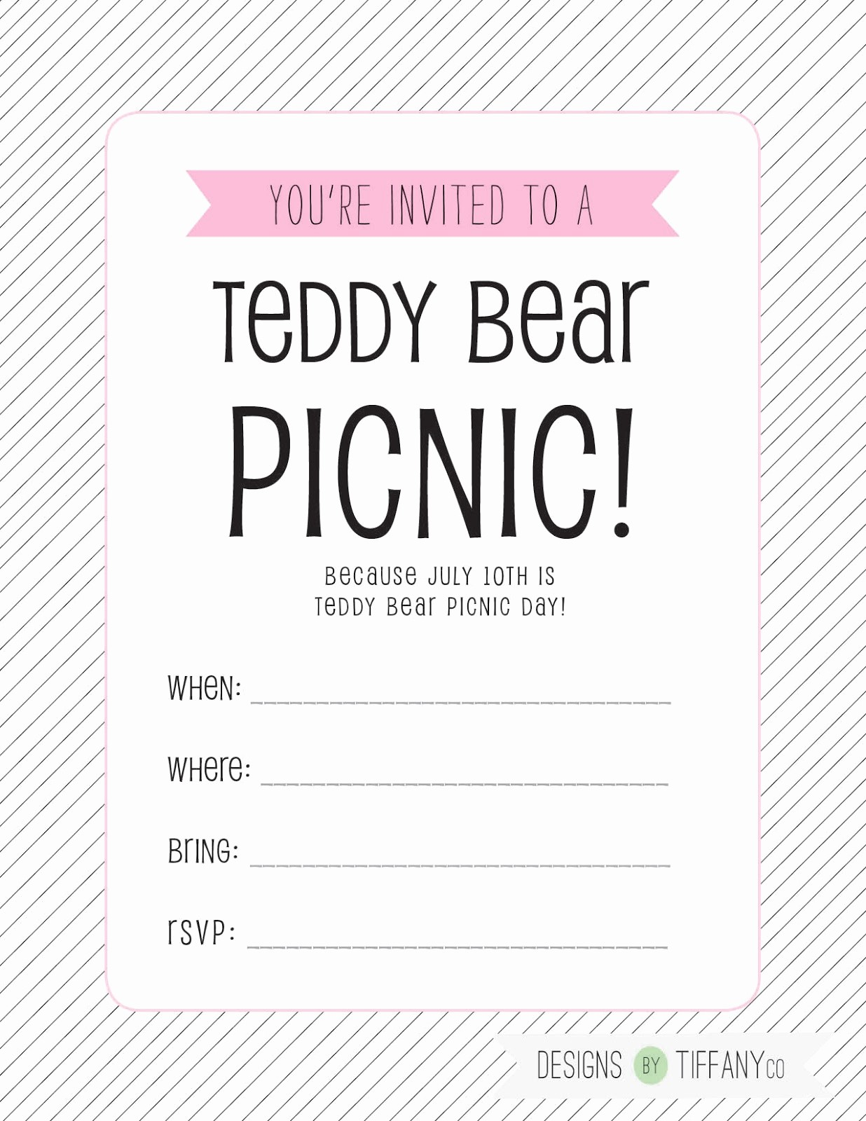Free Printable Picnic Invitation Template New Free Printable July 10th is Teddy Bear Picnic Day